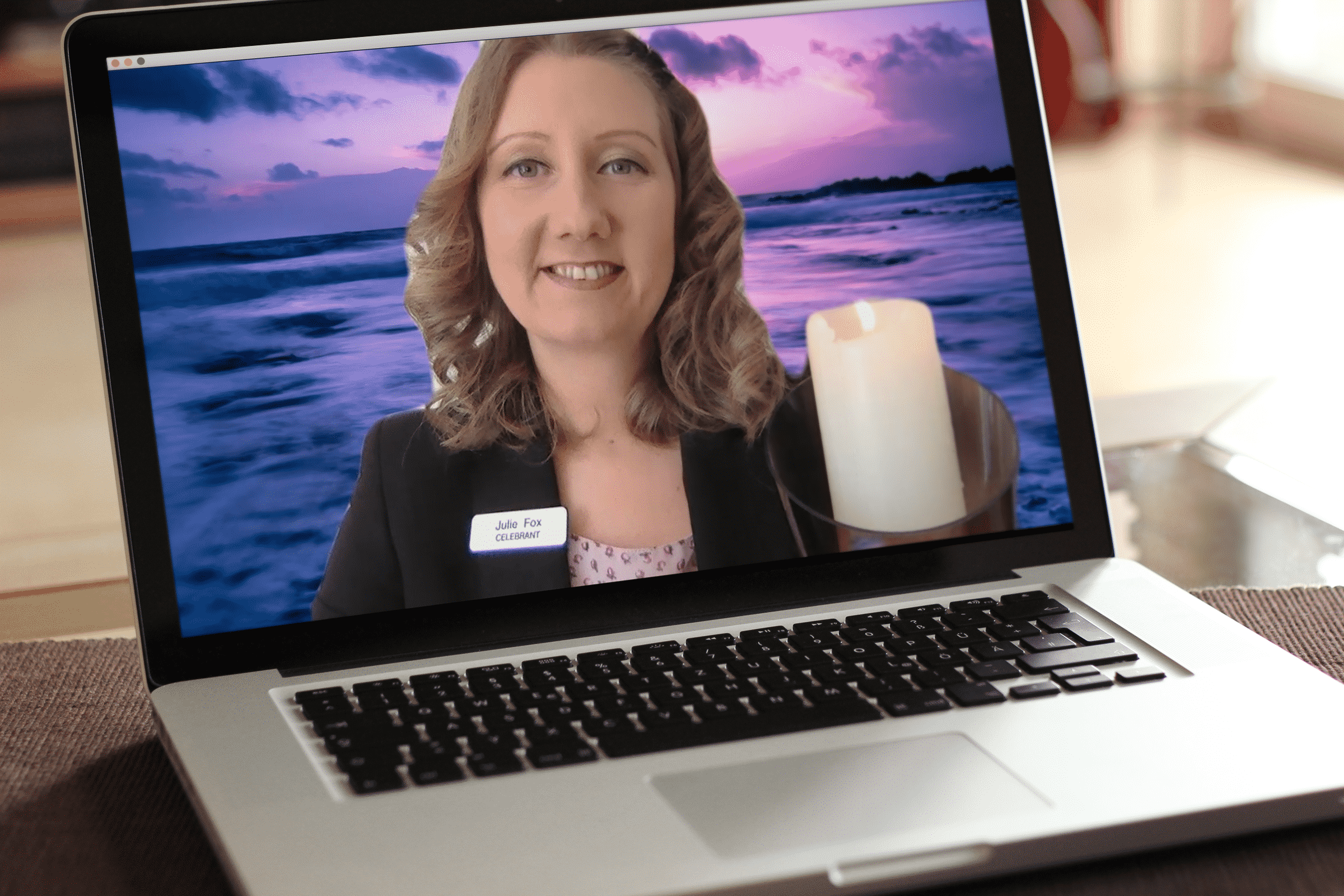 Remote Virtual Funeral Host on Laptop
